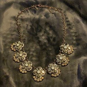 Lane Bryant Gold and White Statement Necklace